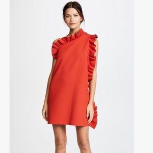 MSGM One Shoulder Crepe Ruffle Dress Size 6